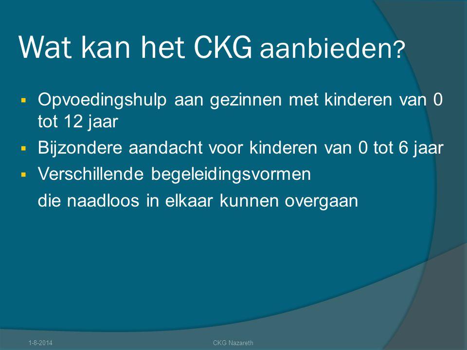 Wat kan het CKG aanbieden ?  Opvoedingshulp aan gezinnen met kinderen van 0 tot 12 jaar  Bijzondere aandacht voor kinderen van 0 tot 6 jaar  Versch