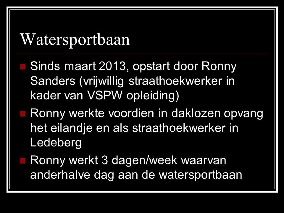 Watersportbaan Sinds maart 2013, opstart door Ronny Sanders (vrijwillig straathoekwerker in kader van VSPW opleiding) Ronny werkte voordien in dakloze