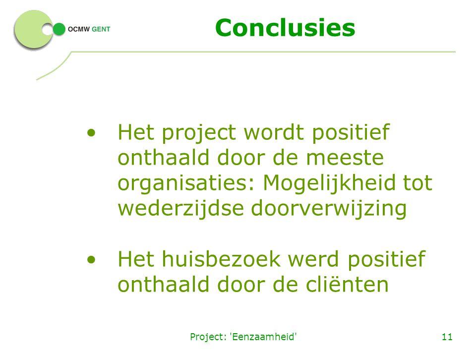 Project: 'Eenzaamheid'11 Conclusies Het project wordt positief onthaald door de meeste organisaties: Mogelijkheid tot wederzijdse doorverwijzing Het h