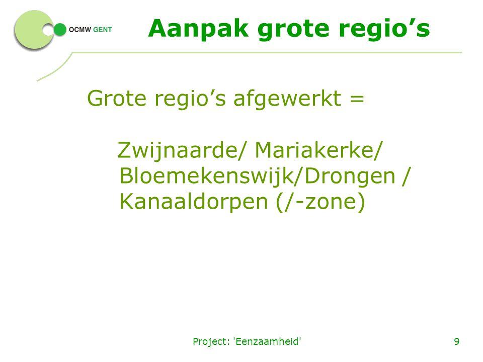 Project: 'Eenzaamheid'9 Aanpak grote regio's Grote regio's afgewerkt = Zwijnaarde/ Mariakerke/ Bloemekenswijk/Drongen / Kanaaldorpen (/-zone)