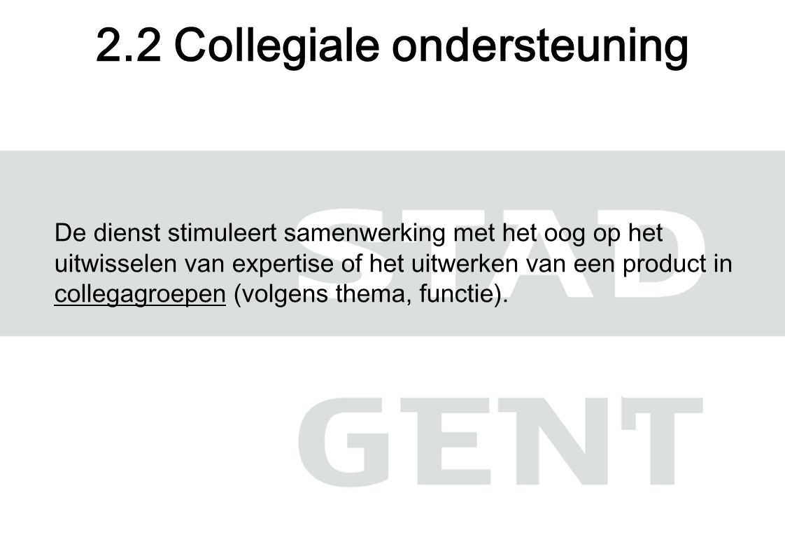 De dienst stimuleert samenwerking met het oog op het uitwisselen van expertise of het uitwerken van een product in collegagroepen (volgens thema, functie).
