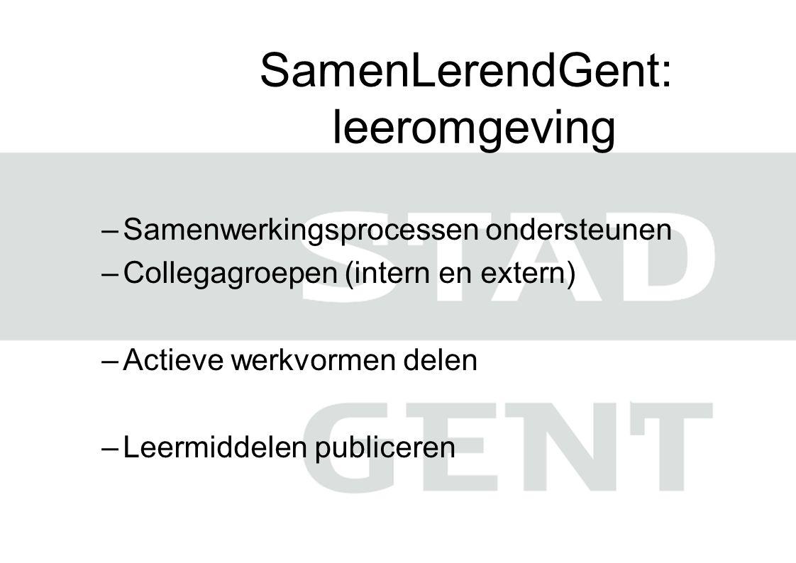 SamenLerendGent: leeromgeving –Samenwerkingsprocessen ondersteunen –Collegagroepen (intern en extern) –Actieve werkvormen delen –Leermiddelen publiceren