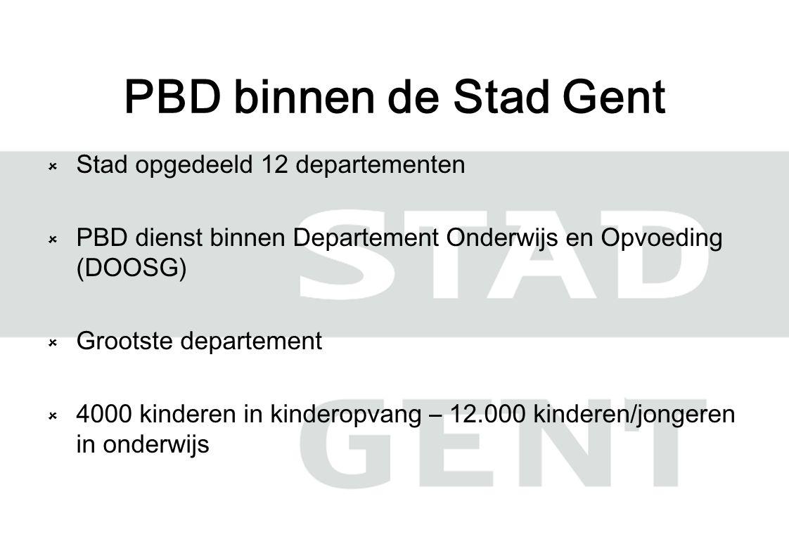 Stad opgedeeld 12 departementen  PBD dienst binnen Departement Onderwijs en Opvoeding (DOOSG)  Grootste departement  4000 kinderen in kinderopvang – 12.000 kinderen/jongeren in onderwijs PBD binnen de Stad Gent