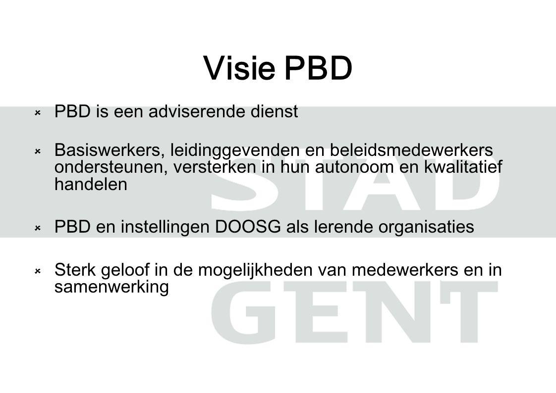 Visie PBD  PBD is een adviserende dienst  Basiswerkers, leidinggevenden en beleidsmedewerkers ondersteunen, versterken in hun autonoom en kwalitatief handelen  PBD en instellingen DOOSG als lerende organisaties  Sterk geloof in de mogelijkheden van medewerkers en in samenwerking