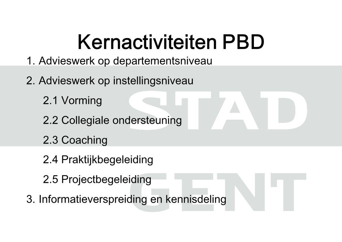 1.Advieswerk op departementsniveau 2.Advieswerk op instellingsniveau 2.1 Vorming 2.2 Collegiale ondersteuning 2.3 Coaching 2.4 Praktijkbegeleiding 2.5 Projectbegeleiding 3.Informatieverspreiding en kennisdeling Kernactiviteiten PBD