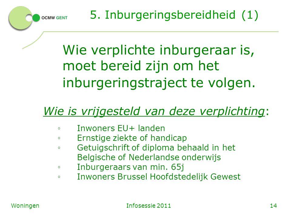 Infosessie 201114Woningen 5. Inburgeringsbereidheid (1) Wie verplichte inburgeraar is, moet bereid zijn om het inburgeringstraject te volgen. Wie is v