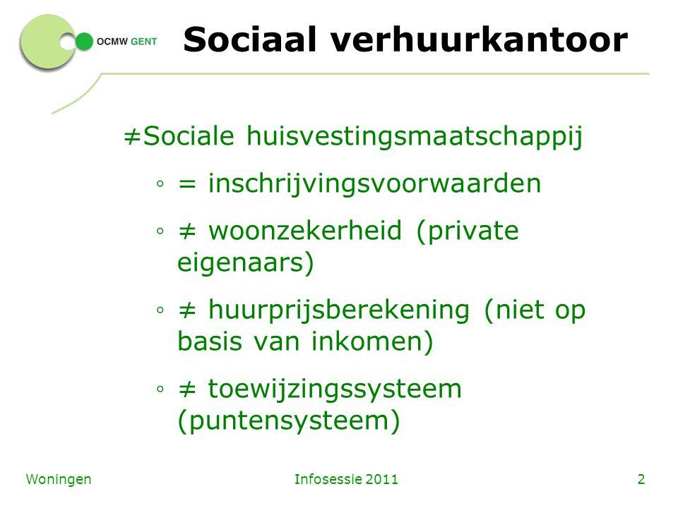 Infosessie 20112Woningen Sociaal verhuurkantoor ≠Sociale huisvestingsmaatschappij ◦ = inschrijvingsvoorwaarden ◦ ≠ woonzekerheid (private eigenaars) ◦