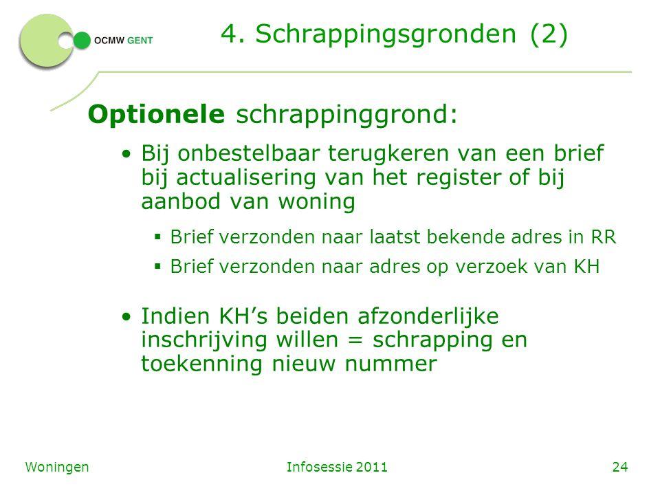 Infosessie 201124Woningen 4. Schrappingsgronden (2) Optionele schrappinggrond: Bij onbestelbaar terugkeren van een brief bij actualisering van het reg