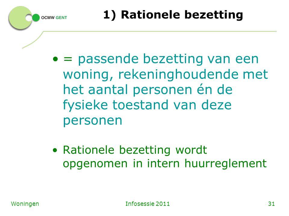Infosessie 201131Woningen 1) Rationele bezetting = passende bezetting van een woning, rekeninghoudende met het aantal personen én de fysieke toestand