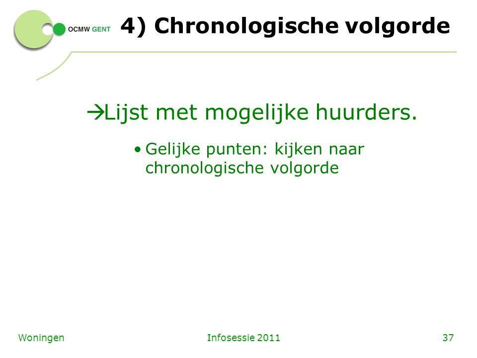 Infosessie 201137Woningen 4) Chronologische volgorde  Lijst met mogelijke huurders. Gelijke punten: kijken naar chronologische volgorde