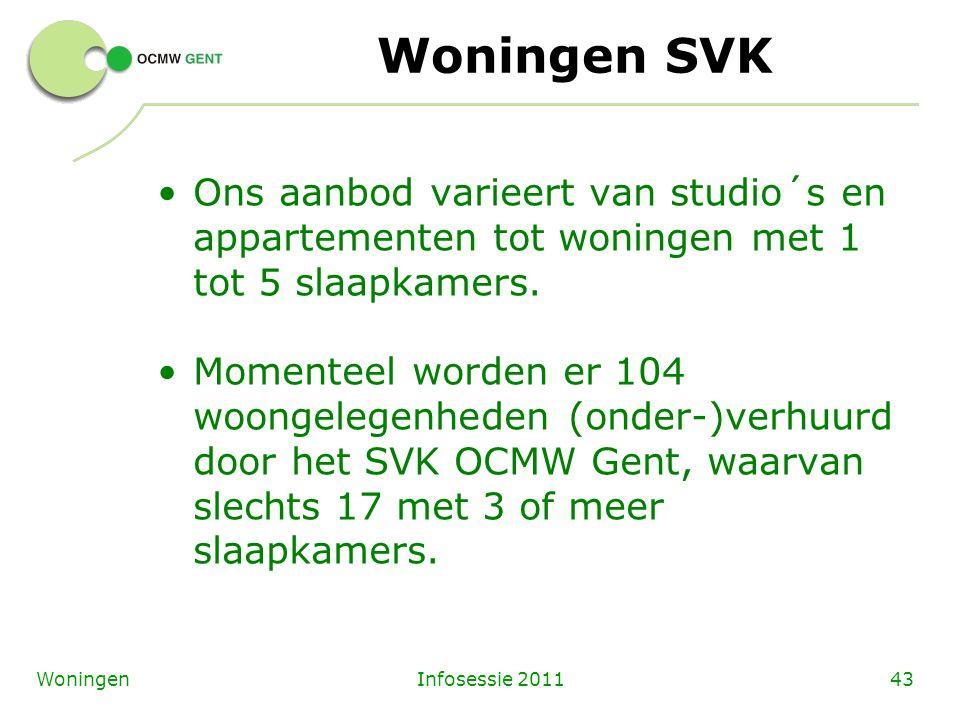 Infosessie 201143Woningen Woningen SVK Ons aanbod varieert van studio´s en appartementen tot woningen met 1 tot 5 slaapkamers. Momenteel worden er 104