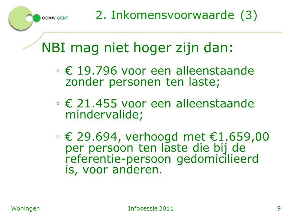 Infosessie 20119Woningen 2. Inkomensvoorwaarde (3) NBI mag niet hoger zijn dan: ◦ € 19.796 voor een alleenstaande zonder personen ten laste; ◦ € 21.45