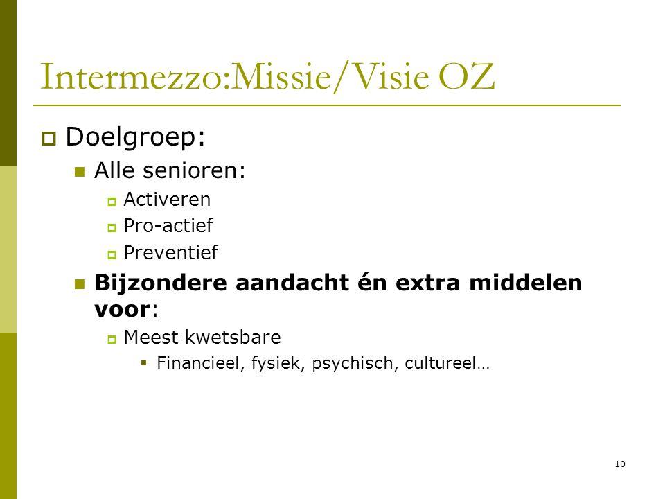 10 Intermezzo:Missie/Visie OZ  Doelgroep: Alle senioren:  Activeren  Pro-actief  Preventief Bijzondere aandacht én extra middelen voor:  Meest kw