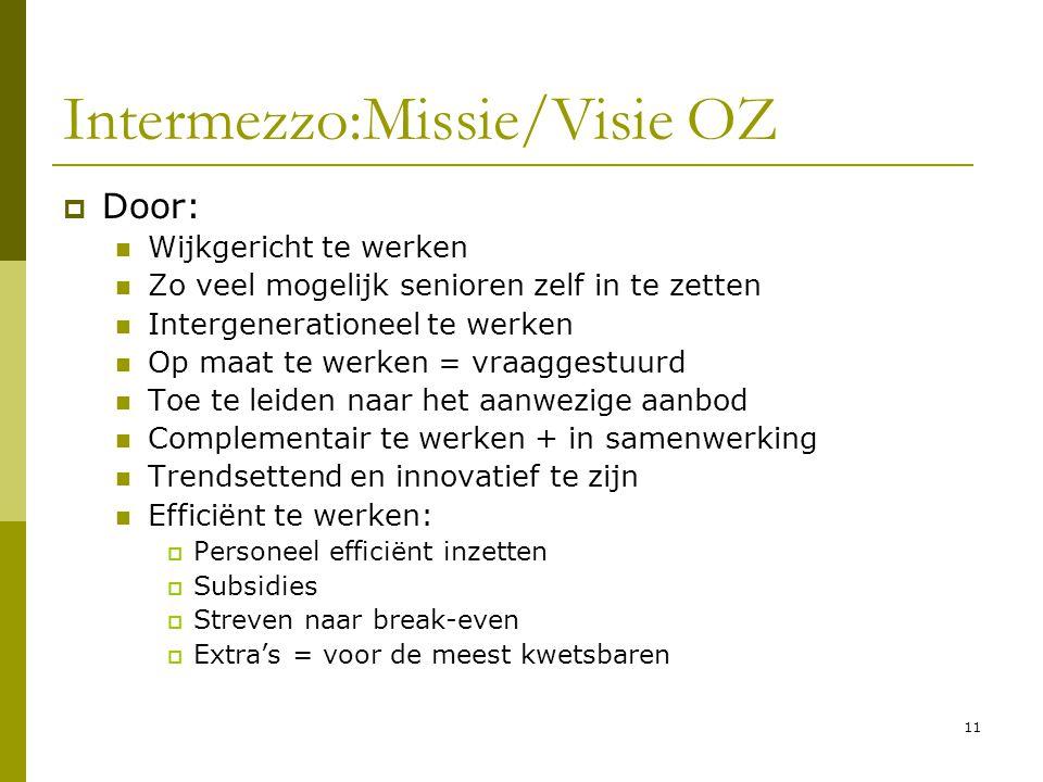 11 Intermezzo:Missie/Visie OZ  Door: Wijkgericht te werken Zo veel mogelijk senioren zelf in te zetten Intergenerationeel te werken Op maat te werken