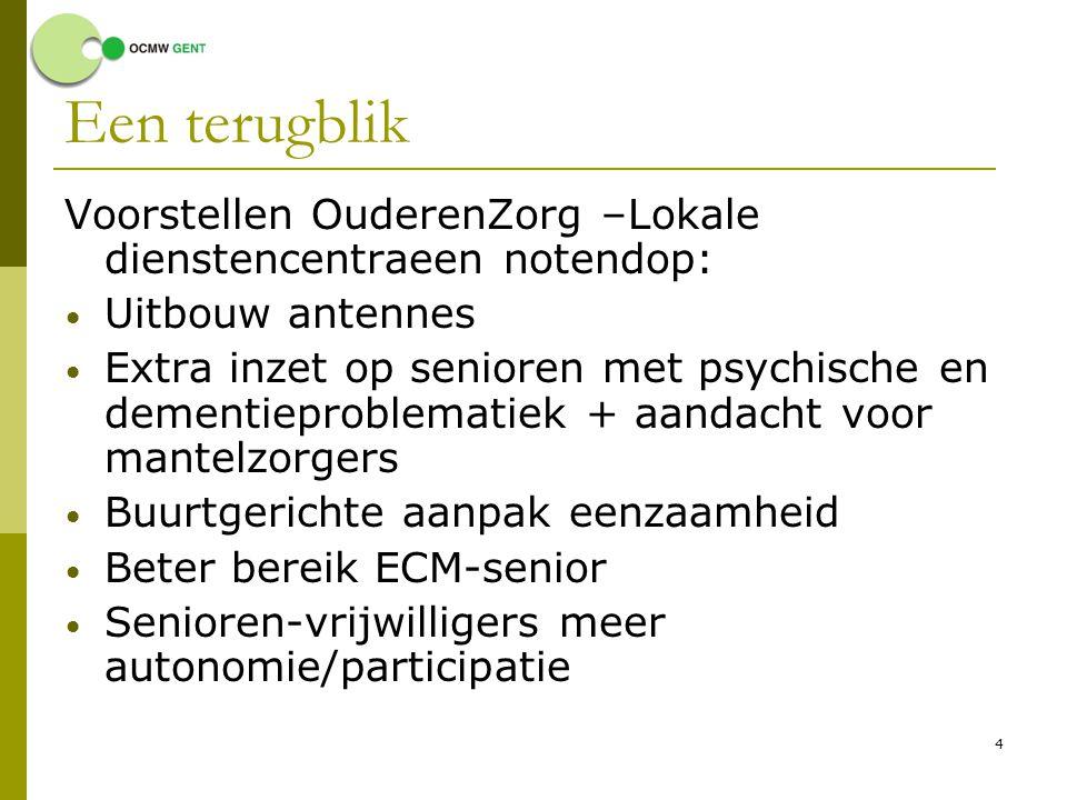 5 Sindsdien  Bestuursakkoord met aantal accenten: Heel Gent bereiken met ldc-aanbod Buurtgericht werken Meer samenwerking tussen diensten Beter bereik ECM-senioren Eenzaamheid aanpakken Intergenerationeel werken