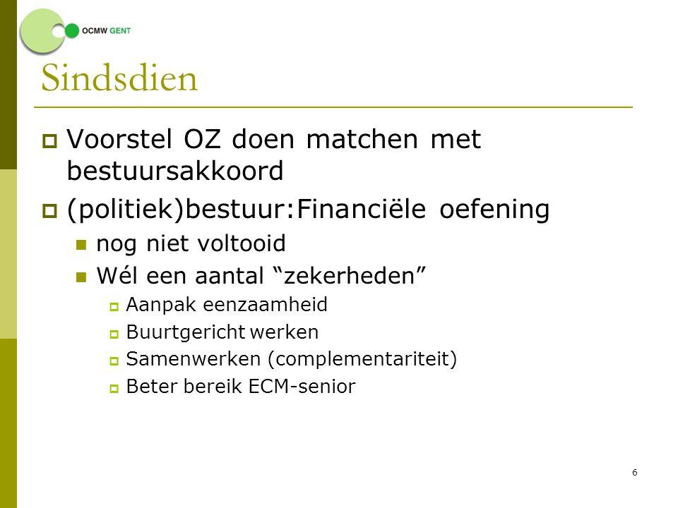 """6 Sindsdien  Voorstel OZ doen matchen met bestuursakkoord  (politiek)bestuur:Financiële oefening nog niet voltooid Wél een aantal """"zekerheden""""  Aan"""