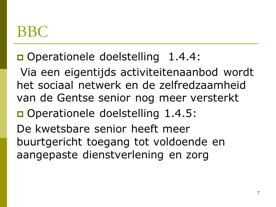 7 BBC  Operationele doelstelling 1.4.4: Via een eigentijds activiteitenaanbod wordt het sociaal netwerk en de zelfredzaamheid van de Gentse senior no
