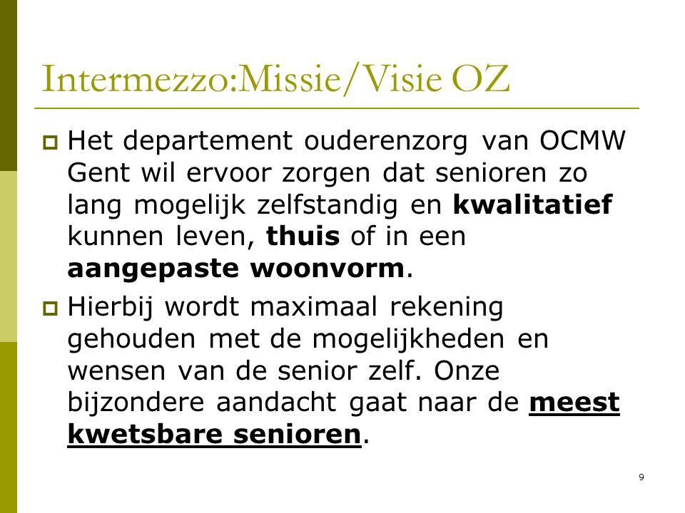 9 Intermezzo:Missie/Visie OZ  Het departement ouderenzorg van OCMW Gent wil ervoor zorgen dat senioren zo lang mogelijk zelfstandig en kwalitatief ku