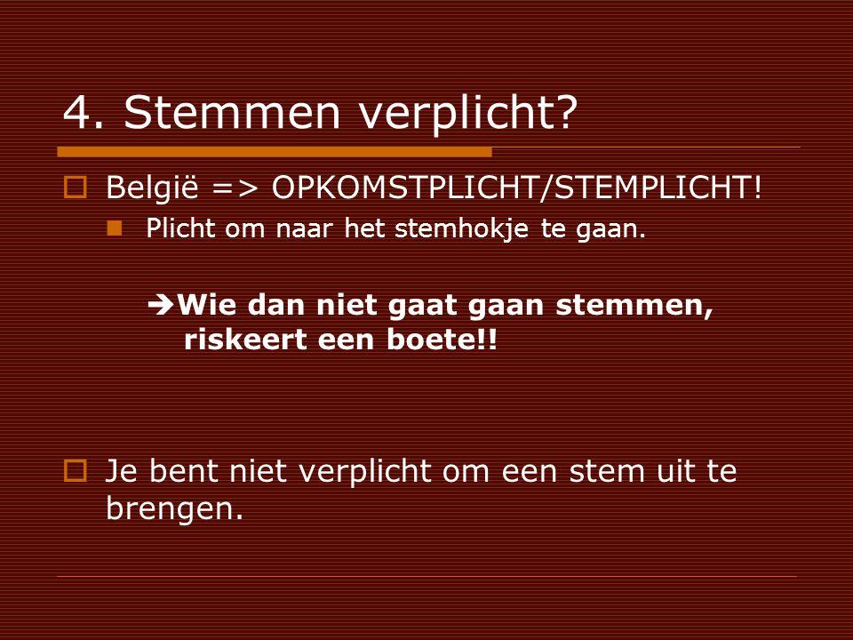 4. Stemmen verplicht.  België => OPKOMSTPLICHT/STEMPLICHT.