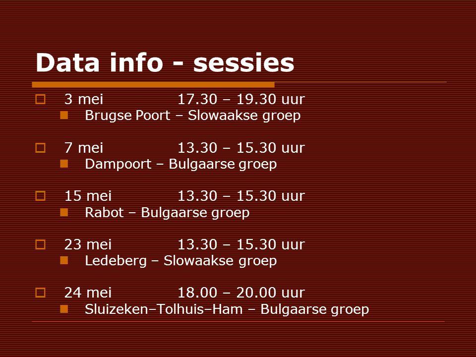 Data info - sessies  3 mei 17.30 – 19.30 uur Brugse Poort – Slowaakse groep  7 mei 13.30 – 15.30 uur Dampoort – Bulgaarse groep  15 mei13.30 – 15.30 uur Rabot – Bulgaarse groep  23 mei13.30 – 15.30 uur Ledeberg – Slowaakse groep  24 mei18.00 – 20.00 uur Sluizeken–Tolhuis–Ham – Bulgaarse groep
