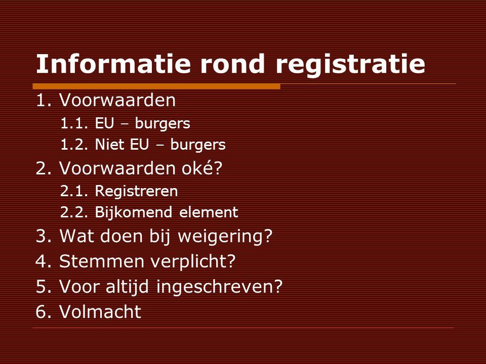 Informatie rond registratie 1. Voorwaarden 1.1. EU – burgers 1.2.