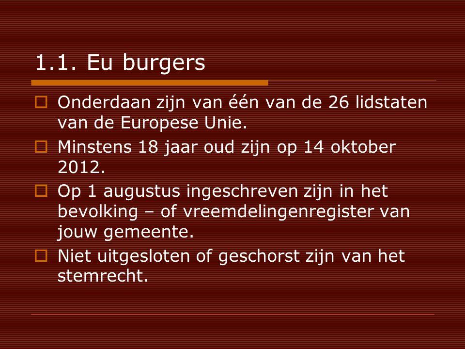1.1. Eu burgers  Onderdaan zijn van één van de 26 lidstaten van de Europese Unie.