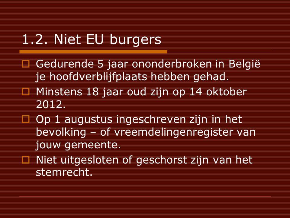1.2. Niet EU burgers  Gedurende 5 jaar ononderbroken in België je hoofdverblijfplaats hebben gehad.  Minstens 18 jaar oud zijn op 14 oktober 2012. 