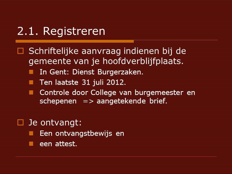 2.1. Registreren  Schriftelijke aanvraag indienen bij de gemeente van je hoofdverblijfplaats.