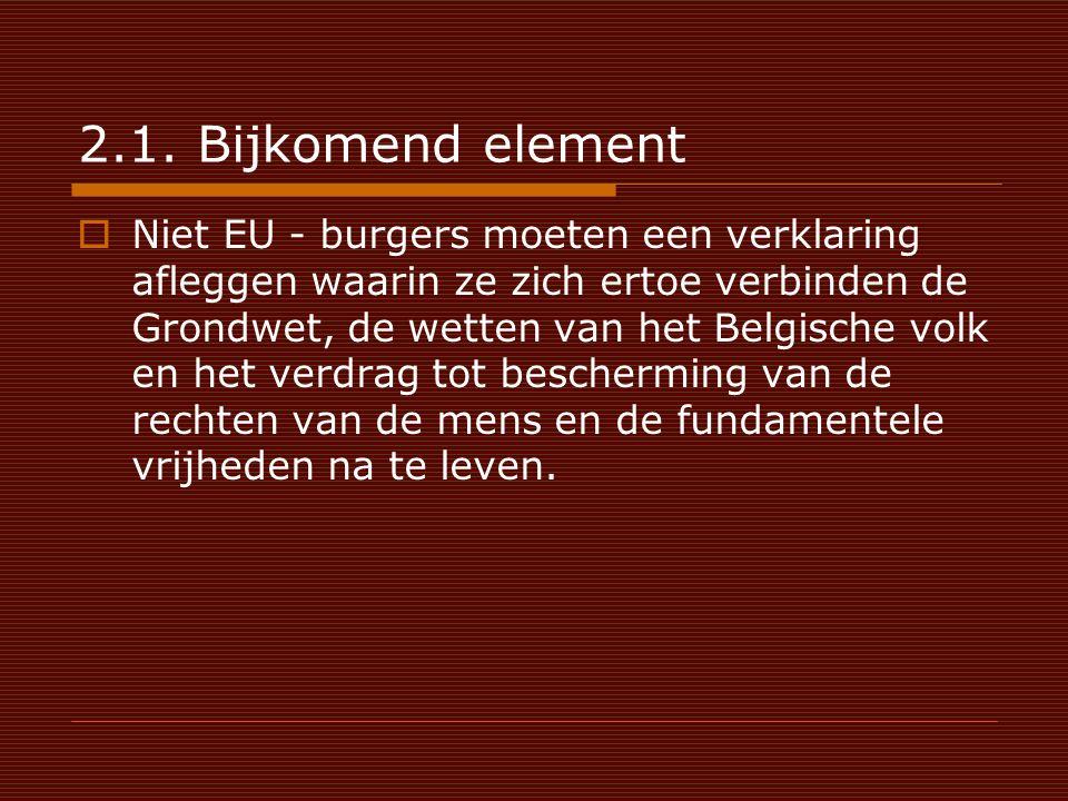 2.1. Bijkomend element  Niet EU - burgers moeten een verklaring afleggen waarin ze zich ertoe verbinden de Grondwet, de wetten van het Belgische volk