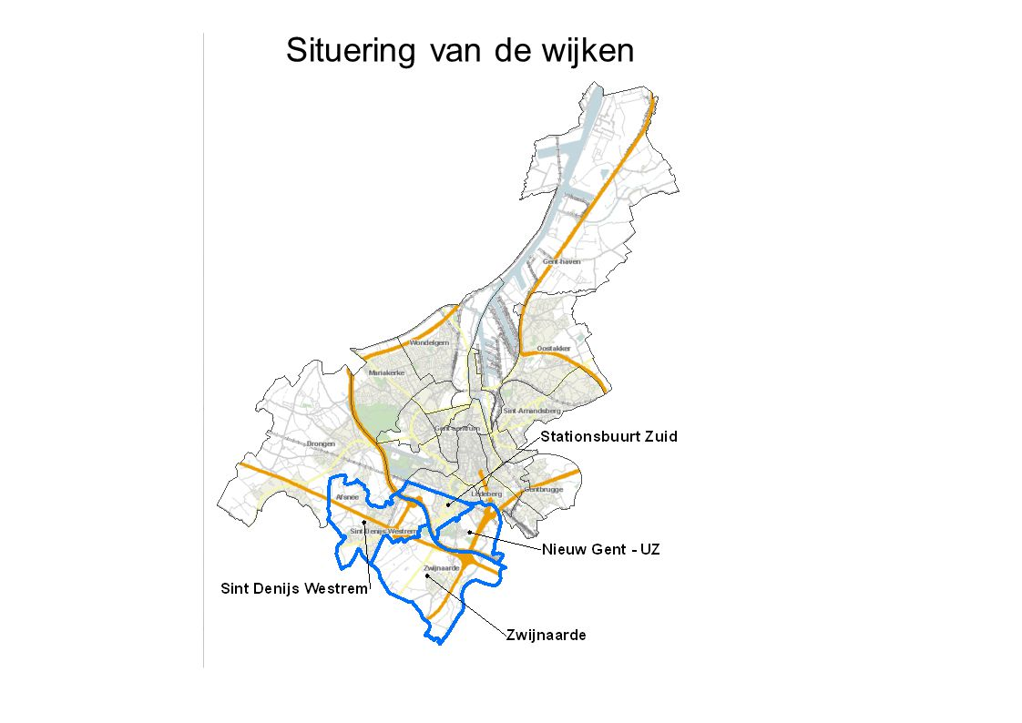 Bebouwde oppervlakte of bebouwingsgraad= Som bebouwde oppervlakte Totale oppervlakte Gent: 12% Op wijkniveau schommelt percentage tussen 4% en 46% Stationsbuurt Zuid: 20% Nieuw Gent – UZ: 16% Sint Denijs Westrem: 8% Zwijnaarde: 6% Een hoog percentage wijst op een 'dense' wijk, met veel bebouwing.
