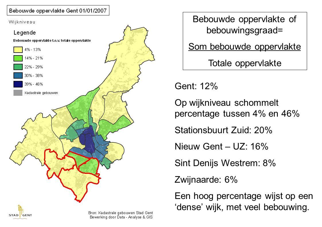 Bevolkingsdichtheid= Aantal inwoners gebied Oppervlakte gebied Gent: 1 519 inw/km² Op wijkniveau schommelt dit tussen 9231 en 59 inw/km² Stationsbuurt Zuid: 2810 inw/km² Nieuw Gent – UZ: 1926 inw/km² Sint Denijs Westrem: 696 inw/km² Zwijnaarde: 572 inw/km²