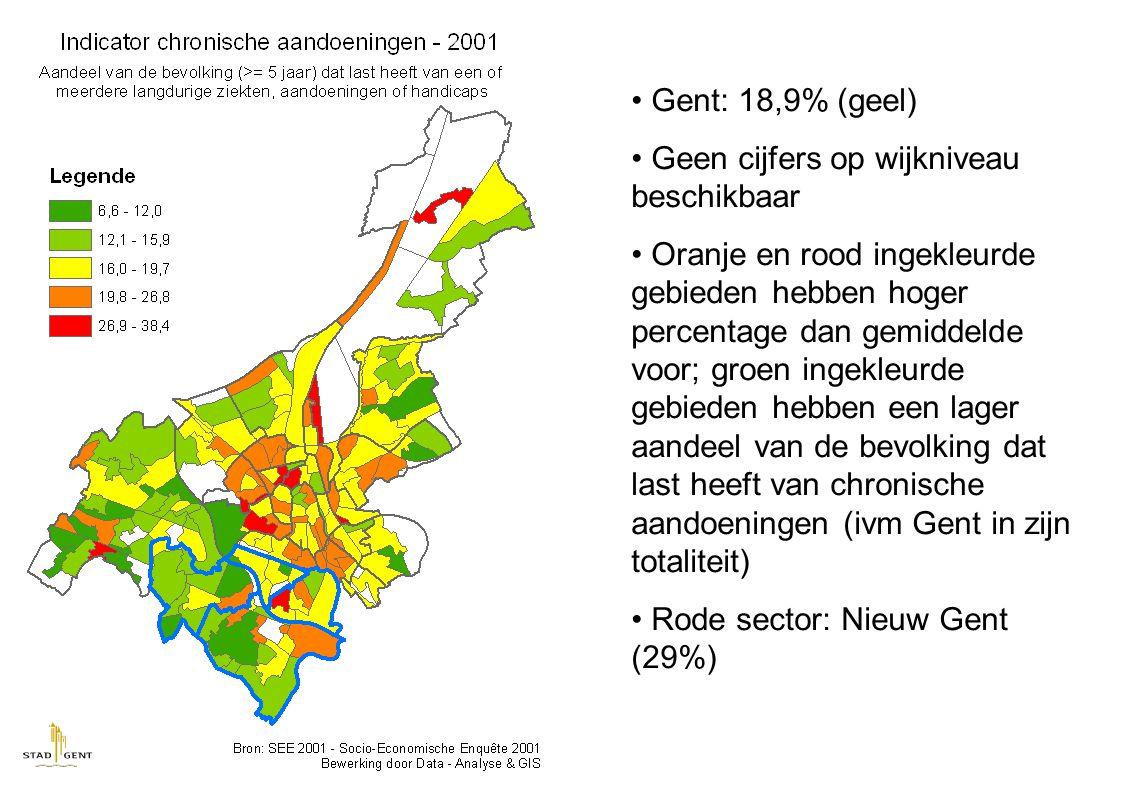Gent: 18,9% (geel) Geen cijfers op wijkniveau beschikbaar Oranje en rood ingekleurde gebieden hebben hoger percentage dan gemiddelde voor; groen ingekleurde gebieden hebben een lager aandeel van de bevolking dat last heeft van chronische aandoeningen (ivm Gent in zijn totaliteit) Rode sector: Nieuw Gent (29%)