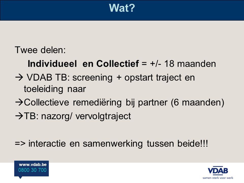 www.vdab.be 0800 30 700 Individueel luik Centraal:  vertrouwensrelatie  Intensieve samenwerking met netwerk (welzijnsactoren) Hoe.