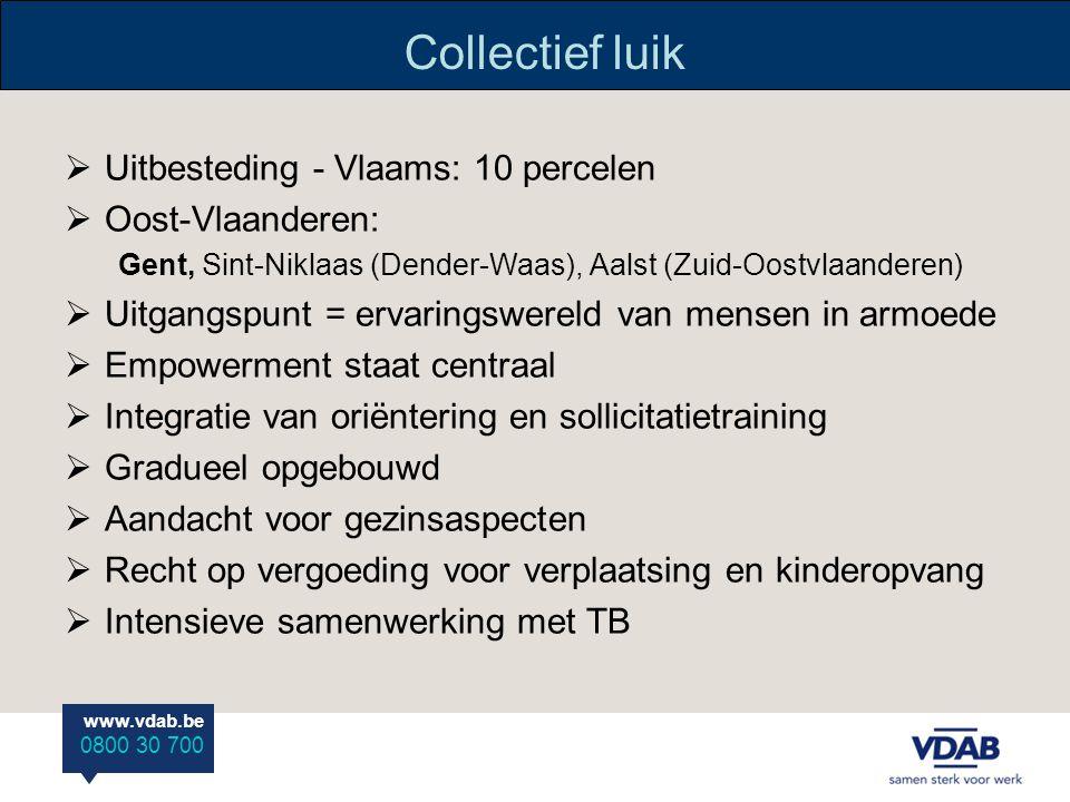 www.vdab.be 0800 30 700 Collectief luik  Uitbesteding - Vlaams: 10 percelen  Oost-Vlaanderen: Gent, Sint-Niklaas (Dender-Waas), Aalst (Zuid-Oostvlaanderen)  Uitgangspunt = ervaringswereld van mensen in armoede  Empowerment staat centraal  Integratie van oriëntering en sollicitatietraining  Gradueel opgebouwd  Aandacht voor gezinsaspecten  Recht op vergoeding voor verplaatsing en kinderopvang  Intensieve samenwerking met TB