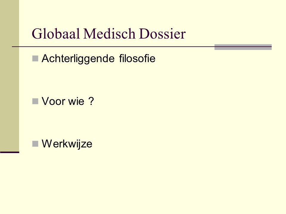 Globaal Medisch Dossier Achterliggende filosofie Voor wie ? Werkwijze