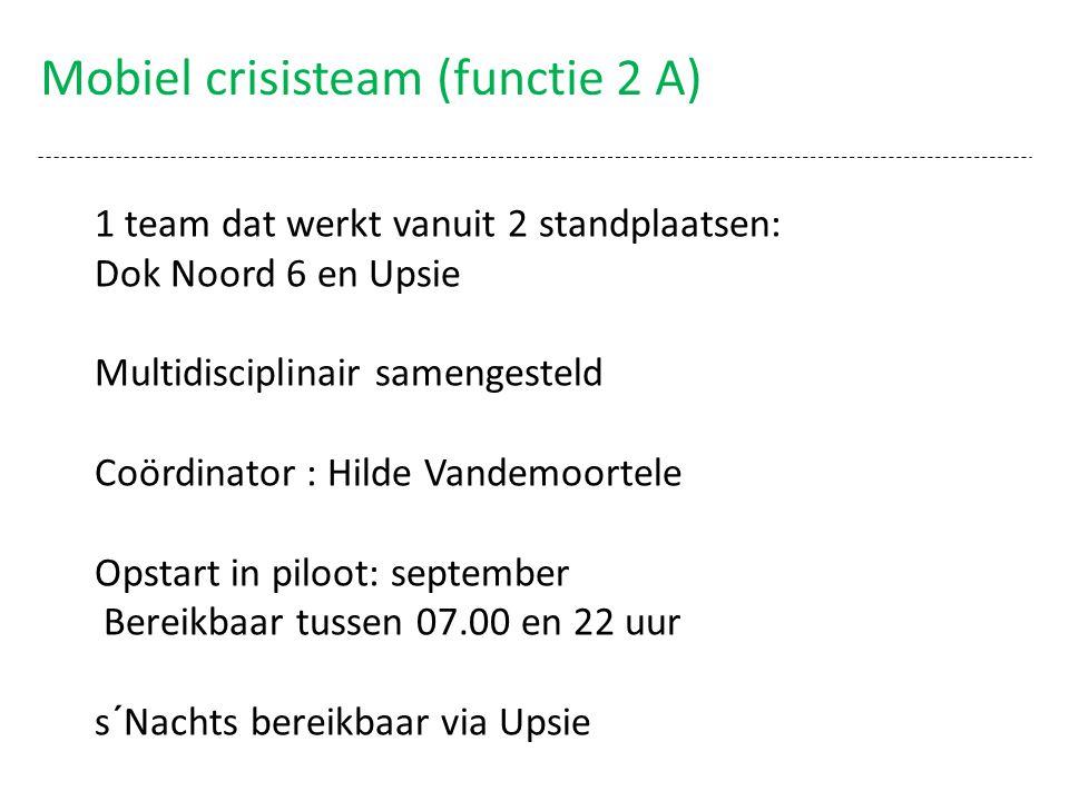 Mobiel crisisteam (functie 2 A) 1 team dat werkt vanuit 2 standplaatsen: Dok Noord 6 en Upsie Multidisciplinair samengesteld Coördinator : Hilde Vande