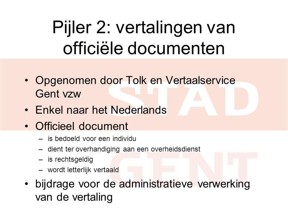 Pijler 2: vertalingen van officiële documenten Opgenomen door Tolk en Vertaalservice Gent vzw Enkel naar het Nederlands Officieel document –is bedoeld