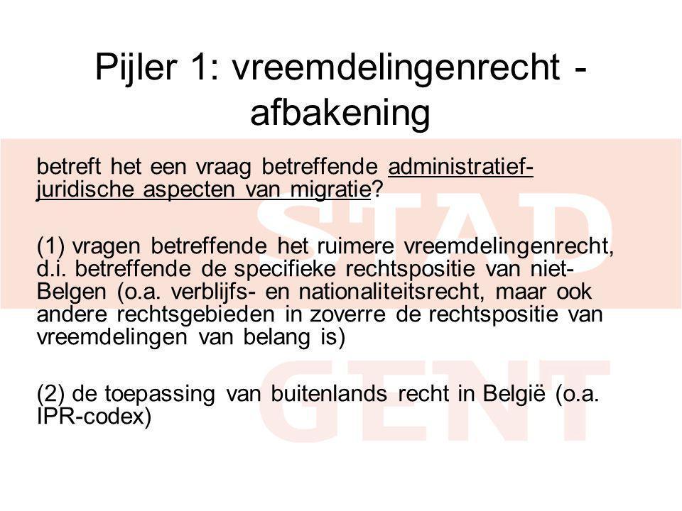 Pijler 1: vreemdelingenrecht - afbakening betreft het een vraag betreffende administratief- juridische aspecten van migratie? (1) vragen betreffende h