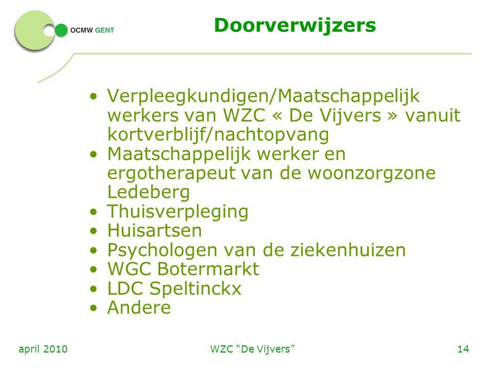 """WZC """"De Vijvers""""14april 2010 Doorverwijzers Verpleegkundigen/Maatschappelijk werkers van WZC « De Vijvers » vanuit kortverblijf/nachtopvang Maatschapp"""