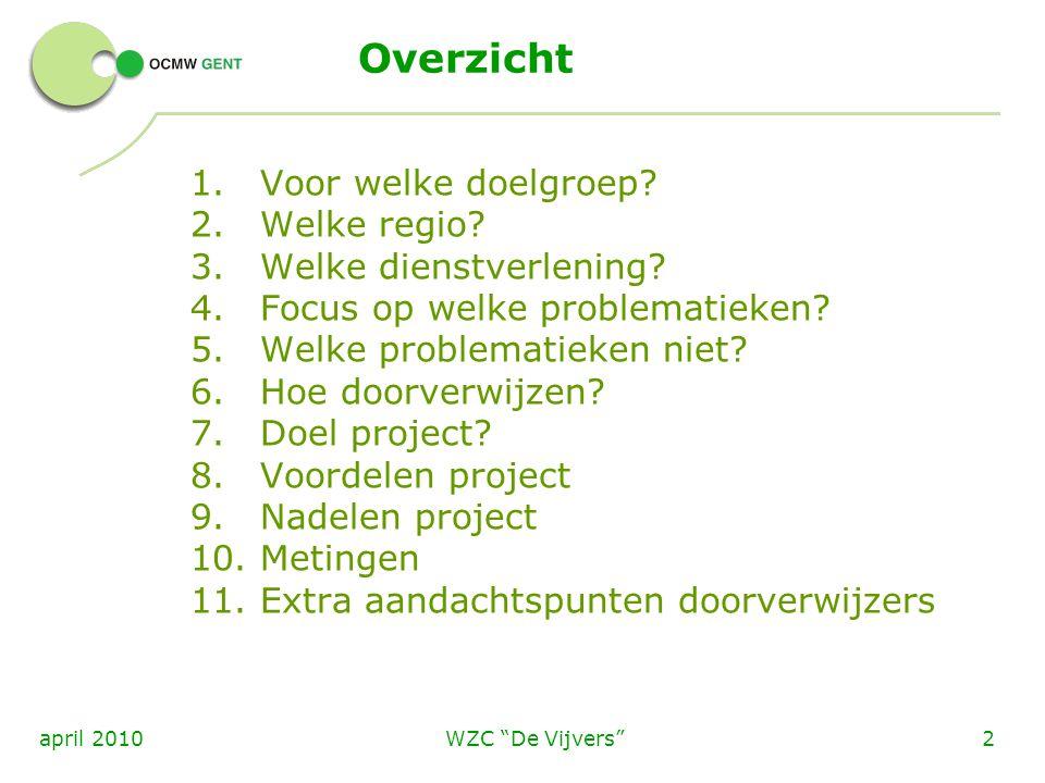 WZC De Vijvers 3april 2010 1.Voor welke doelgroep.