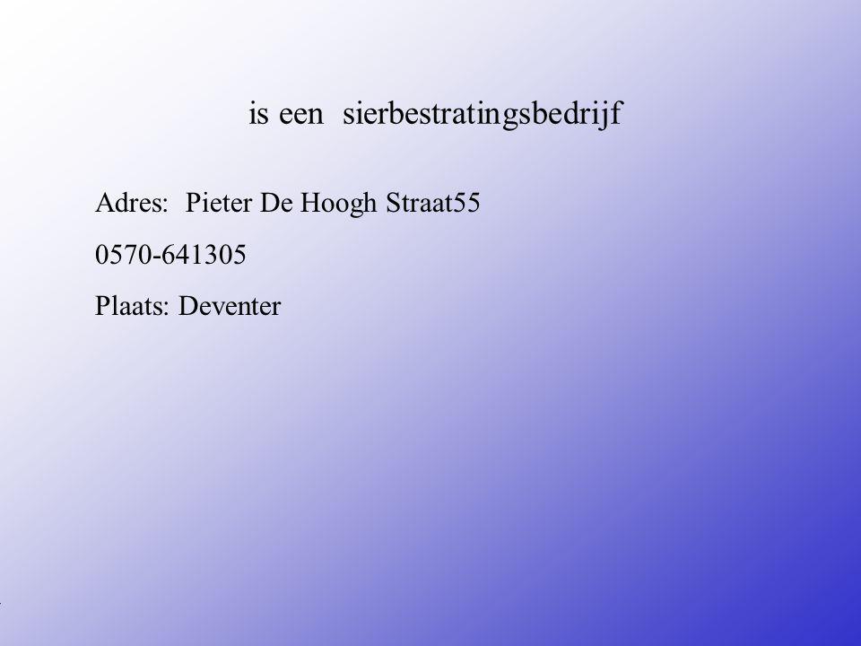 is een sierbestratingsbedrijf Adres: Pieter De Hoogh Straat55 0570-641305 Plaats: Deventer **Wat voor bedrijf is het .