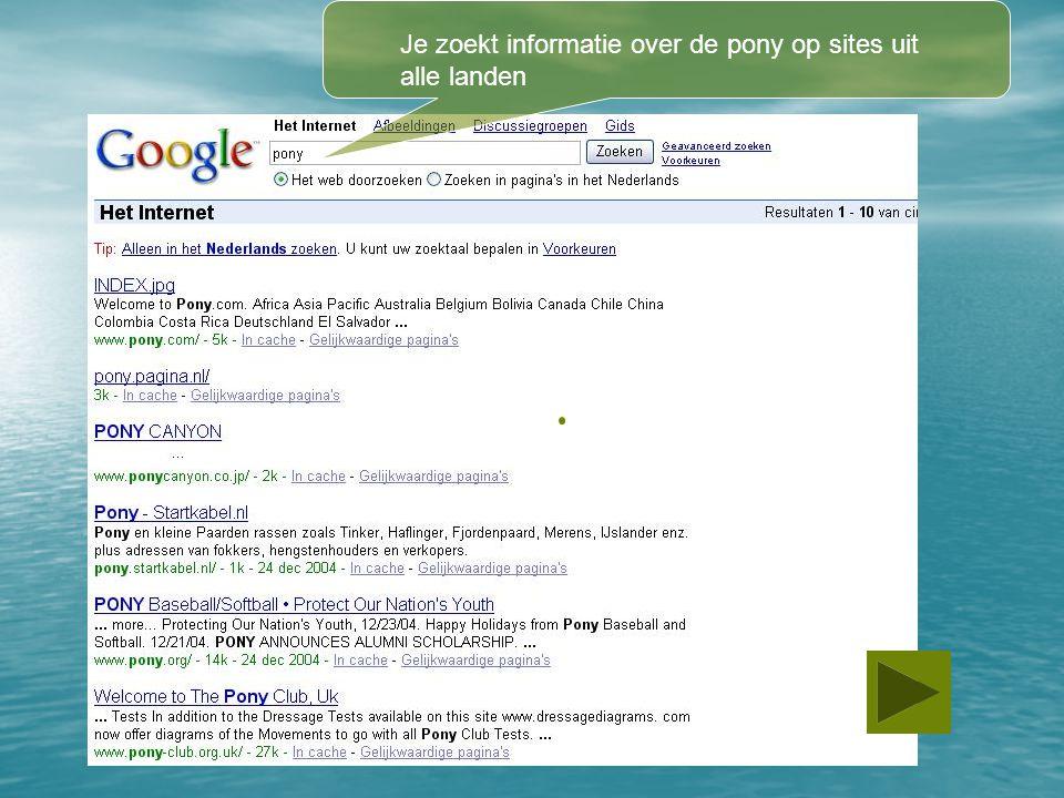 Je zoekt informatie over de pony op sites uit alle landen