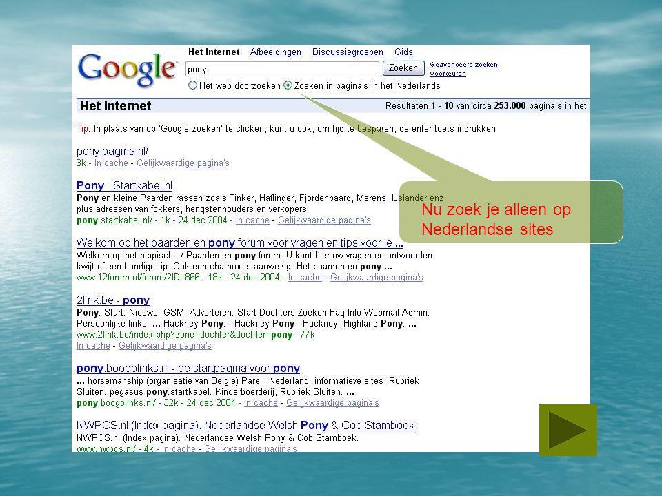 Nu zoek je alleen op Nederlandse sites