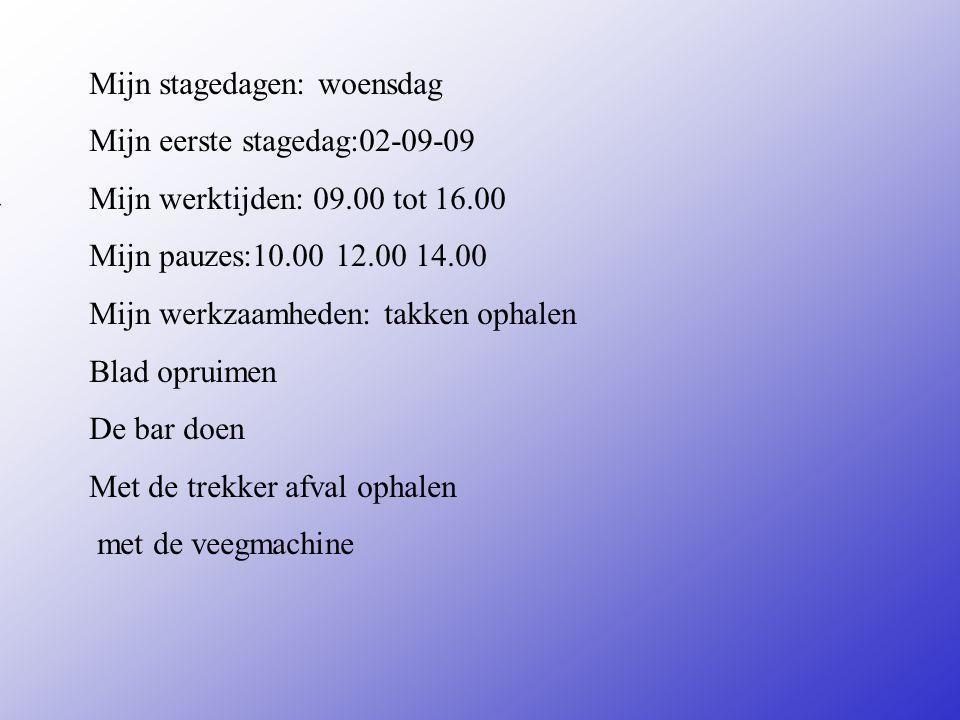 Mijn stagedagen: woensdag Mijn eerste stagedag:02-09-09 Mijn werktijden: 09.00 tot 16.00 Mijn pauzes:10.00 12.00 14.00 Mijn werkzaamheden: takken ophalen Blad opruimen De bar doen Met de trekker afval ophalen met de veegmachine Vul hier de datum in van je 1e stagedag Zijn er vaste pauzes of Mag je zelf kiezen Bijvoorbeeld: -Inpakken -Sorteren -Reinigen van...........