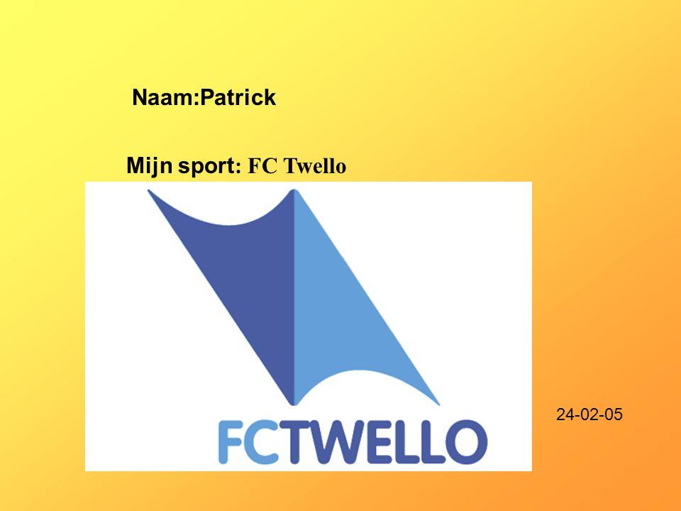 """Naam:Patrick Mijn sport : FC Twello Klik op """"Naam"""". Vul je naam in. Doe hetzelfde met """"sport"""" Hier kun je een foto / tekening Invoegen 24-02-05"""