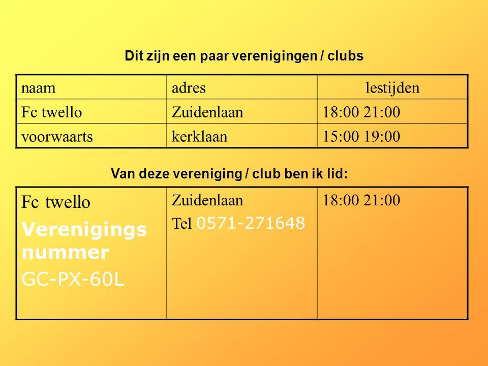 naamadreslestijden Fc twelloZuidenlaan18:00 21:00 voorwaartskerklaan15:00 19:00 Dit zijn een paar verenigingen / clubs Van deze vereniging / club ben