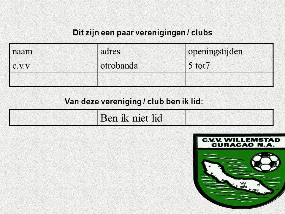 naamadresopeningstijden c.v.votrobanda5 tot7 Dit zijn een paar verenigingen / clubs Van deze vereniging / club ben ik lid: Ben ik niet lid Als er geen
