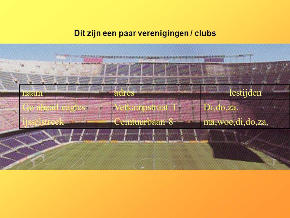 Internetsites over deze sport: *www.FCBarcelona.com *www.FCAjax.nl *www.NacBreda.nl *www.Vitesseworld.nl Kijk naar de antwoorden van vraag 11 Voeg hier foto's of plaatjes in