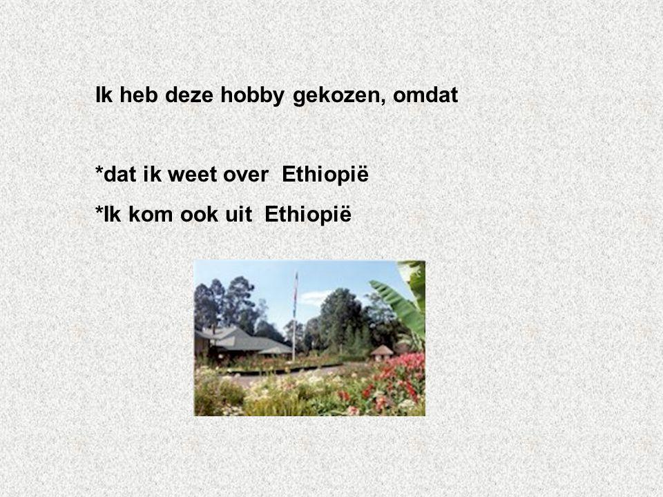 Ik heb deze hobby gekozen, omdat *dat ik weet over Ethiopië *Ik kom ook uit Ethiopië Vul hier de antwoorden van vraag 3 Wil je elk antwoord een andere