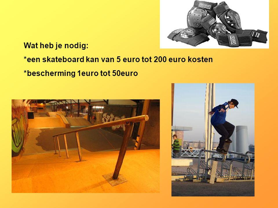 Wat heb je nodig: *een skateboard kan van 5 euro tot 200 euro kosten *bescherming 1euro tot 50euro Vul hier in welke kleding, en materialen je nodig hebt, Wat heb je ook nodig: (?) -goede concentratie -Goed uithoudingsvermogen -Tegen verlies kunnen -Goed kunnen samenwerken Hoeveel euro kost deze sport per maand Hoeveel tijd ben je elke maand kwijt aan deze sport ?